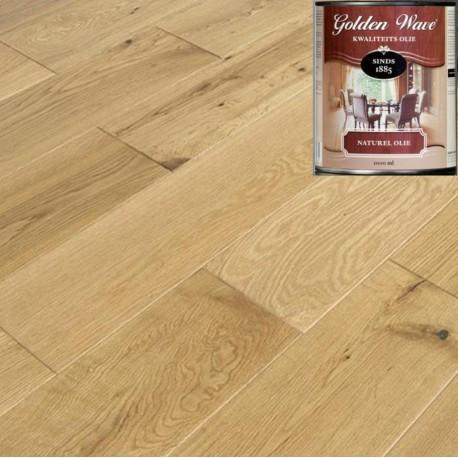 Паркетна дошка дуб Рустик покриття поліуретанова олія Голден Вейв