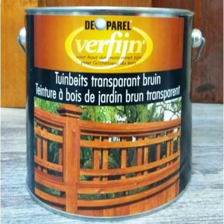 Морилка на основе масла для деревяного забора Verfijn Tuinbeits  Bruin коричневая 2,5 Л.